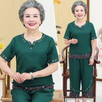 Middle aged and old women's wear Summer 2020 motion suit easy Two piece set Retro Design Over 60 years old Socket thin Crew neck routine routine Embroidery other Other 100% 96% and above Ninth pants