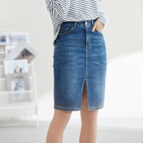 skirt Spring 2021 XS,S,M,L,XL Blue and white Short skirt commute High waist A-line skirt Solid color Type H 30-34 years old 51% (inclusive) - 70% (inclusive) other cotton Button