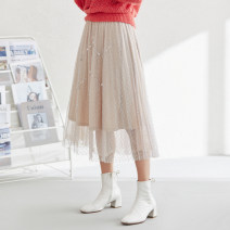 skirt Spring 2021 M, L cream-colored Middle-skirt commute Natural waist A-line skirt Decor Type A 30-34 years old More than 95% other polyester fiber 401g / m ^ 2 (inclusive) - 500g / m ^ 2 (inclusive)