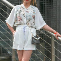 Fashion suit Summer 2020 XS,S,M,L,XL White and blue LEISURE S022507E10 96% and above wool