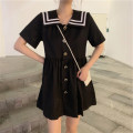 Women's large Summer 2020, spring 2020, winter 2020, autumn 2020 Dress singleton  commute easy moderate Condom Short sleeve Solid color Admiral other Three dimensional cutting routine Button Short skirt other S,M,L,XL,2XL,3XL,4XL White dress, black dress
