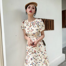 Middle aged and old women's wear Summer 2020 Apricot dress apricot dress 1 S M L XL commute singleton  Dot Socket other puff sleeve C5N3645 Zhixiao other Other 100% 96% and above Pure e-commerce (online only) Medium length Irregular skirt Retro