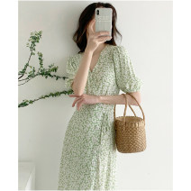 Dress Spring 2021 Light green flowers S M L XL longuette singleton  elbow sleeve commute V-neck High waist Broken flowers Socket A-line skirt puff sleeve Others 18-24 years old Type A Zhixiao Korean version D3N5815 More than 95% other Other 100% Pure e-commerce (online only)