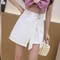 Casual pants S,M,L,XL Spring 2021 shorts Wide leg pants High waist commute Thin money 18-24 years old Other / other polyester fiber Simplicity zipper polyester fiber Asymmetry