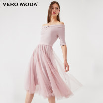 Dress Spring of 2019 C19 season light pink E39 dark blue E40 155/76A/XS 160/80A/S 165/84A/M 170/88A/L 175/92A/XL 180/96A/XXL Middle-skirt singleton  elbow sleeve commute One word collar middle-waisted Solid color Socket A-line skirt routine Others 25-29 years old Vero Moda Ol style 30% and below