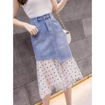 skirt Summer 2021 S,M,L,XL,2XL blue longuette High waist A-line skirt 0614H221229547499 Denim Asymmetry, mesh, stitching