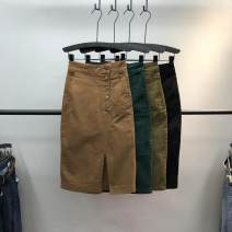 skirt Autumn 2020 S,M,L,XL,XXL Mid length dress Versatile High waist skirt Solid color Type H 71% (inclusive) - 80% (inclusive) Denim Other / other cotton Pocket, asymmetric, button