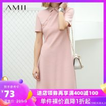 Dress Spring of 2019 Black beibai shell Pink Green 150/76A/XS 155/80A/S 160/84A/M 165/88A/L 170/92A/XL Mid length dress singleton  Short sleeve commute Polo collar middle-waisted Solid color Single breasted A-line skirt routine 25-29 years old Type A Amii Simplicity Asymmetry OL11940320 More than 95%