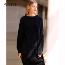 Dress Winter of 2018 black 155/80A/S 160/84A/M 165/88A/L Mid length dress singleton  Long sleeves commute Crew neck middle-waisted Solid color Socket other 25-29 years old Amii Simplicity OL11870210 More than 95% nylon Polyamide fiber (nylon) 100% Same model in shopping mall (sold online and offline)