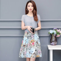 Women's large Summer of 2019 Black grey blue L XL XXL XXXL XXXXL XXXXXL Dress Fake two pieces commute easy thin Socket Short sleeve Big flower Simplicity Crew neck polyester printing and dyeing routine Tiyunna 35-39 years old Bandage 96% and above Medium length Polyester 100% other