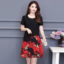 Women's large Summer of 2019 Safflower and yellow flower L XL XXL XXXL XXXXL XXXXXL Dress Fake two pieces commute easy thin Socket Short sleeve Big flower Korean version Crew neck Medium length polyester printing and dyeing routine Tiyunna 40-49 years old zipper 96% and above Medium length other