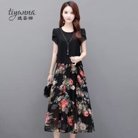 Women's large Summer 2020 M L XL 2XL 3XL 4XL 5XL Dress singleton  commute Self cultivation thin Socket Short sleeve Decor Korean version Crew neck polyester printing and dyeing other Tiyunna 40-49 years old 96% and above Medium length Polyester 100% Pure e-commerce (online only) other
