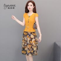 Women's large Summer 2020 Navy Yellow L XL 2XL 3XL 4XL 5XL Dress Fake two pieces commute Self cultivation thin Socket Short sleeve Decor Korean version Crew neck polyester printing and dyeing routine Tiyunna 40-49 years old 96% and above Medium length Polyester 100% Pure e-commerce (online only)