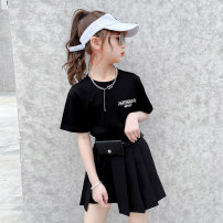 suit Nottinger White suit black suit 110cm 120cm 130cm 140cm 150cm 160cm female summer Korean version Short sleeve + skirt 2 pieces Thin money There are models in the real shooting Socket nothing Solid color cotton children Expression of love Lbaoer long t short skirt two piece set Class B Other 100%