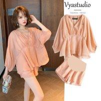 Dress Automorphism White top + pants pink top + Pants White Top Pink Top M L XL XXL Korean version Solid color Chiffon