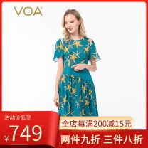 Dress Summer 2020 Huangxing (A53) 160/M,165/L,170/XL,175/XXL Mid length dress singleton  Short sleeve Sweet Crew neck low-waisted scenery Socket Pleated skirt pagoda sleeve Others 30-34 years old Type X VOA Hollowed out, pleated, stitched, asymmetrical, printed A135 More than 95% Chiffon silk Bohemia