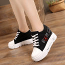 Low top shoes 35 36 37 38 39 Black and white Round head cloth Internal elevation High heel (5-8cm) Deep mouth cloth Summer of 2019 Frenulum Korean version Adhesive shoes Youth (18-40 years old) Solid color polyurethane Single shoes Color matching slope with muffin and waterproof platform PU