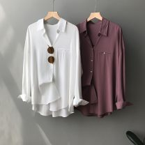 Women's large Spring 2021 White mist blue mist purple milk tea L M Straight cylinder Long sleeves Solid color Polo collar Medium length other routine daw65f156aw1f65aw1f6wa Yundoni 30-34 years old 96% and above Other 100%