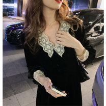 Women's large Autumn 2020 black L XL S M Dress singleton  commute Long sleeves Solid color Retro V-neck polyester fiber other LX5704 Blue summer 18-24 years old 51% (inclusive) - 70% (inclusive) longuette Polyester 70% other 30% Pure e-commerce (online only)