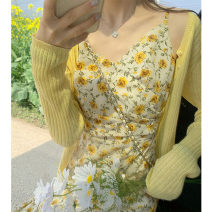 Dress Spring 2021 Yellow floral suspender dress yellow sunscreen cardigan + Sanda skirt S M L XL longuette Two piece set Long sleeves commute V-neck High waist Broken flowers A-line skirt routine camisole 18-24 years old Blue summer Retro LX7896 51% (inclusive) - 70% (inclusive) Chiffon