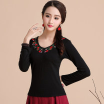 T-shirt L,XL,2XL,3XL,4XL,5XL,6XL Autumn 2020 Long sleeves V-neck Self cultivation Regular routine commute cotton 86% (inclusive) -95% (inclusive) Retro literature Plants and flowers Su Yi embroidery 1703# Stitching, embroidery