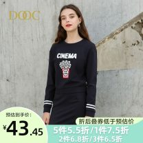 Dress Autumn of 2019 S M L XS Middle-skirt Two piece set Long sleeves square neck middle-waisted Solid color Pleated skirt other 25-29 years old Type A DOOC More than 95% polyester fiber Polyester 100% Pure e-commerce (online only)