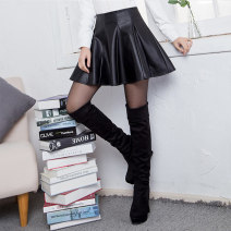skirt Winter 2020 M L XL 2XL 3XL 4XL black Short skirt commute High waist A-line skirt Solid color Type A 25-29 years old G50329 More than 95% GNDH other zipper Sheepskin Pure e-commerce (online only)