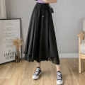 Casual pants Blue black white S M L XL Summer 2021 Ninth pants Wide leg pants High waist commute Thin money 18-24 years old F08217 GNDH fold polyester fiber Polyester 100% Pure e-commerce (online only)