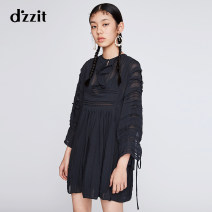 Dress Summer of 2019 black XS S M Mid length dress singleton  Long sleeves commute Crew neck middle-waisted other other Princess Dress 25-29 years old Type X d'zzit lady Ruffle lace 3G2O5062A More than 95% Chiffon polyester fiber Polyester 100% Same model in shopping mall (sold online and offline)