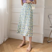 skirt Summer 2021 S M L Pink white purple green Mid length dress Versatile High waist A-line skirt Decor Type A 18-24 years old Y-3135 More than 95% Chiffon Yasuen other printing Other 100% Pure e-commerce (online only)