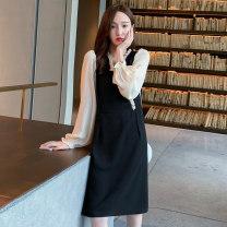 Dress other black M,L,XL,XXL Long sleeves V-neck Solid color polyester fiber