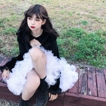 Women's large Winter 2020 black L XL XXL S M Dress singleton  commute Self cultivation Socket Long sleeves Solid color Korean version Crew neck routine polyester fiber other DY2186 Daiyan 18-24 years old Gauze 96% and above longuette Polyester 100% Exclusive payment of tmall other