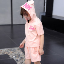 suit TUELNT Pink girl 0119 black 0119 110cm 120cm 130cm 140cm 150cm 160cm female summer leisure time Short sleeve + pants 2 pieces routine There are models in the real shooting Socket No detachable cap Solid color cotton Expression of love G0119 Cotton 95% polyurethane elastic fiber (spandex) 5%