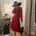 Dress Autumn of 2019 Red and black S M L Mid length dress singleton  Long sleeves commute V-neck High waist Solid color Socket Princess Dress 25-29 years old Nuwangshijia / Royal Family Retro More than 95% polyester fiber Polyester 100% Same model in shopping mall (sold online and offline)