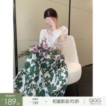 skirt Summer 2021 S M L Green brown brown 5-7 days green 5-7 days Mid length dress High waist Q2103306 More than 95% Qian Gu Gu cotton Cotton 100%