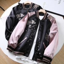 short coat Spring 2021 S,M,L,XL,2XL Black, pink Long sleeves have cash less than that is registered in the accounts routine singleton  easy commute routine stand collar zipper Plants and flowers 18-24 years old Machi Miro 30% and below Pocket, stitching, embroidery other polyester fiber