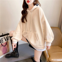 Women's large Spring 2021 Apricot Pink M L XL Sweater / sweater Fake two pieces commute easy thin Socket Long sleeves Solid color Korean version Hood routine cotton routine hl2997 Iluoyu 25-29 years old pocket Polyester 75% cotton 25% Pure e-commerce (online only)