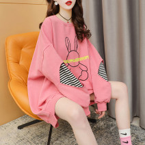 Women's large Summer 2021 Pink yellow green white M L XL Sweater / sweater singleton  commute easy thin Socket Long sleeves Cartoon strip letter Korean version Crew neck Medium length cotton Three dimensional cutting routine hl3077 Iluoyu 25-29 years old pocket Polyester 75% cotton 25%
