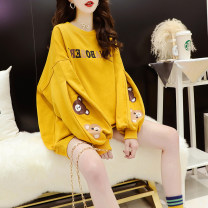Women's large Spring 2021 White black yellow M L XL Sweater / sweater singleton  commute easy thin Socket Long sleeves Cartoon letters Korean version Crew neck routine cotton routine hl3035 Iluoyu 25-29 years old Asymmetry Polyester 75% cotton 25% Pure e-commerce (online only)