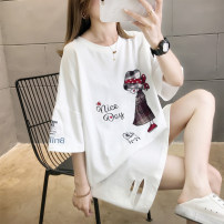 Women's large Summer 2020 Blue green Blue-1 M (suitable for 80-115 kg) l (suitable for 116-135 kg) XL (suitable for 136-165 kg) XXL (suitable for 166-200 kg) T-shirt singleton  commute easy Socket Cartoon letters Korean version Crew neck Medium length polyester fiber routine hl486 Iluoyu hole