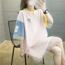 Women's large Summer 2020 Pink white M (suitable for 80-100kg) l (suitable for 101-120kg) XL (suitable for 121-150kg) T-shirt singleton  commute easy Socket Other letters Crew neck Medium length cotton hl275 Iluoyu 25-29 years old Gauze Cotton 100% Pure e-commerce (online only)