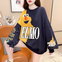 Women's large Spring 2021 Dark blue black grey M L XL XXL Sweater / sweater singleton  commute easy thin Socket Long sleeves Cartoon letters Korean version Crew neck Medium length cotton Three dimensional cutting routine hl2939 Iluoyu 25-29 years old Embroidery Polyester 75% cotton 25%