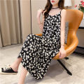 Women's large Summer 2020 Dress singleton  commute Conjoined Plants and flowers Korean version V-neck polyester fiber Iluoyu 25-29 years old Medium length Polyester 100% Pure e-commerce (online only)