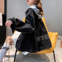 Women's large Spring 2021 Blue black S M L XL Jacket / jacket singleton  commute easy moderate Cardigan Long sleeves Other letters Korean version routine routine hl3022 Iluoyu 25-29 years old pocket Other 100% Pure e-commerce (online only) Single row two buttons