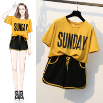 Women's large Summer 2020 L (less than 100 kg) XL (suitable for 100-125 kg) 2XL (suitable for 125-150 kg) 3XL (suitable for 150-175 kg) 4XL (suitable for 175-200 kg) T-shirt Two piece set commute easy Socket Short sleeve letter Korean version Crew neck routine cotton printing and dyeing routine hl440