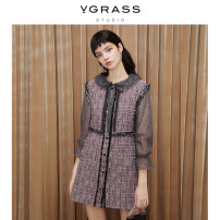 Dress Spring 2021 gules 38/XS 40/S 42/M 44/L 46/XL Short skirt Fake two pieces Long sleeves commute Crew neck other A-line skirt Others 25-29 years old Type A v·grass lady Little fragrance SSLQM12140 71% (inclusive) - 80% (inclusive) cotton Same model in shopping mall (sold online and offline)