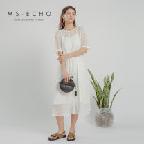 Dress Summer 2020 cream  F Mid length dress Two piece set Short sleeve Sweet Crew neck middle-waisted Solid color A-line skirt routine 25-29 years old Type A MS-Echo More than 95% Chiffon polyester fiber Polyester 100% college Same model in shopping mall (sold online and offline)
