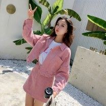Women's large Spring 2021 Lotus root color M Large XL s Large L Jacket / jacket Two piece set commute easy moderate Cardigan Long sleeves Solid color Korean version Polo collar have cash less than that is registered in the accounts Three dimensional cutting routine shishangtaozxiaogezi Kurlein other