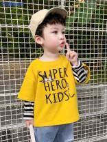 T-shirt Yellow white Simba monkey 80cm 90cm 100cm 110cm 120cm 130cm male spring and autumn Long sleeves Crew neck leisure time There are models in the real shooting nothing Cotton blended fabric Cartoon animation Other 100% Class B Sweat absorption