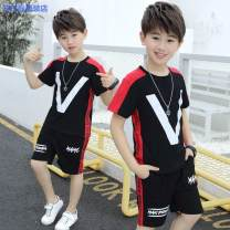 suit Simba monkey Black red 100cm 110cm 120cm 130cm 140cm 150cm 160cm male summer Korean version Short sleeve + pants 2 pieces Thin money There are models in the real shooting Socket nothing other cotton children Expression of love V-shaped summer-406baa99-f Class B Cotton 95% other 5%